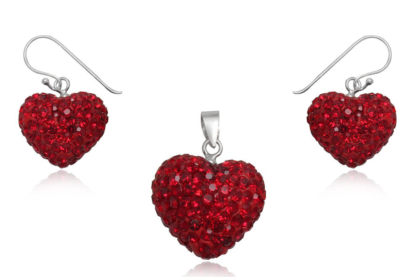 set inimi din cristale rosii