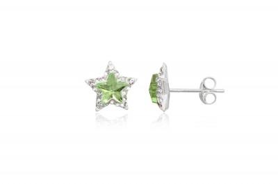 Cercei din argint cu cristale verzi si albe