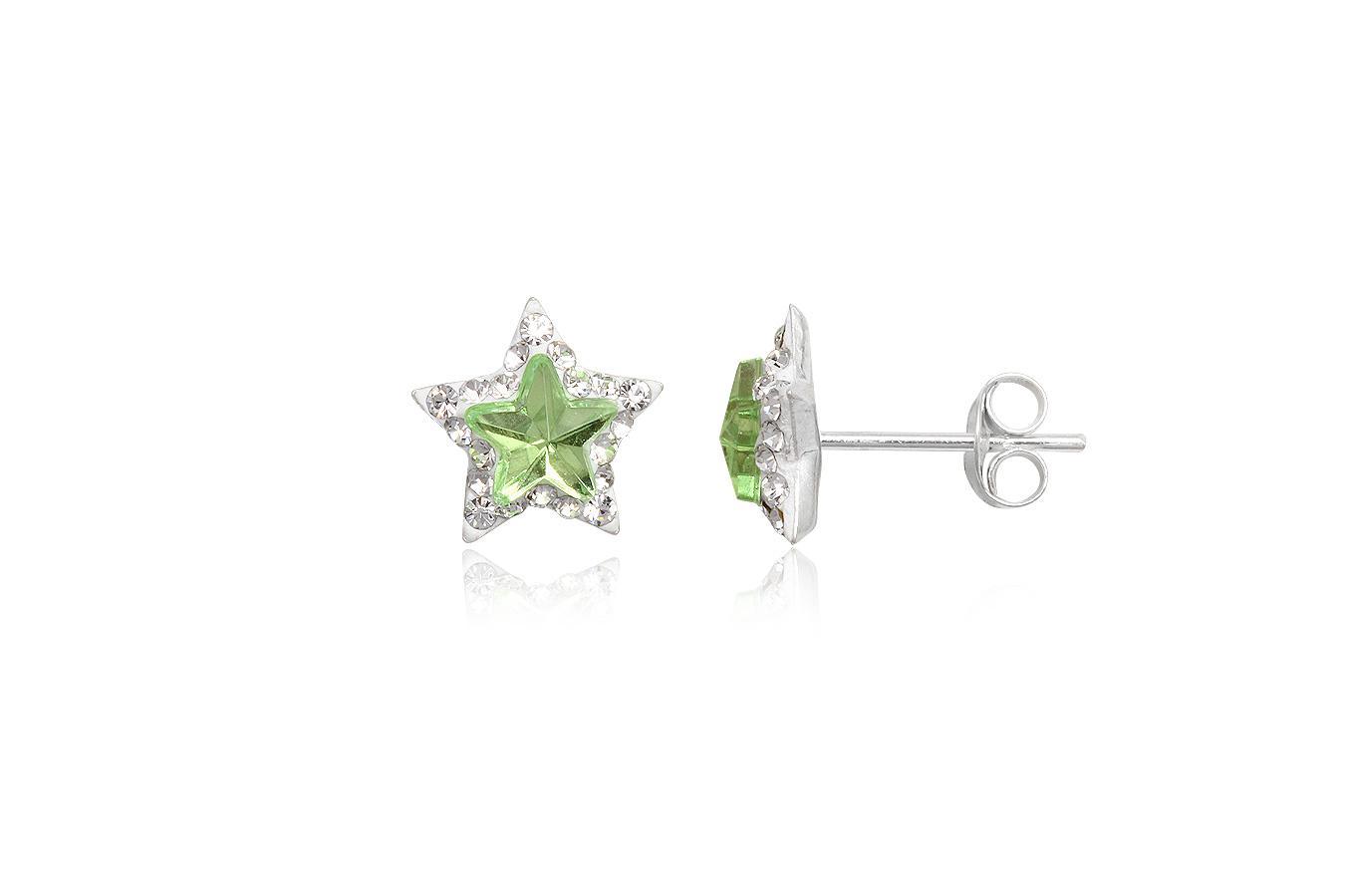 cercei argint cu cristale verzi