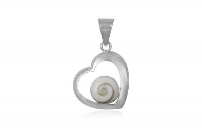 Pandantiv din argint inima si Ochiul lui Shiva
