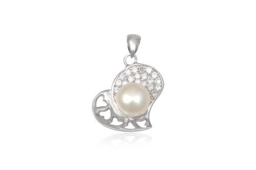 pandantiv argint cu inimi si perla