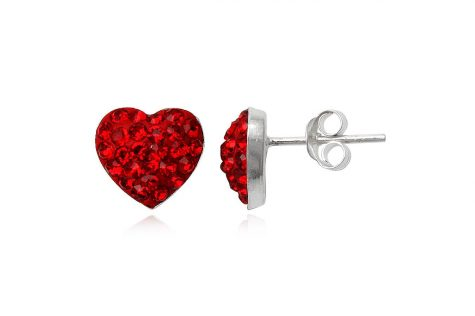 cercei argint inimi rosii