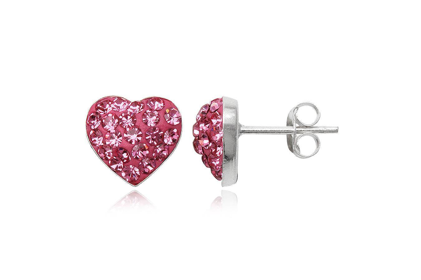 cercei argint inimi roz