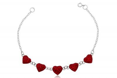 Bratara din argint cu inimioare rosii cu cristale