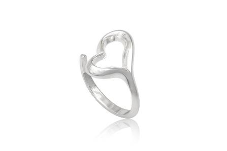 inel din argint inima deschisa