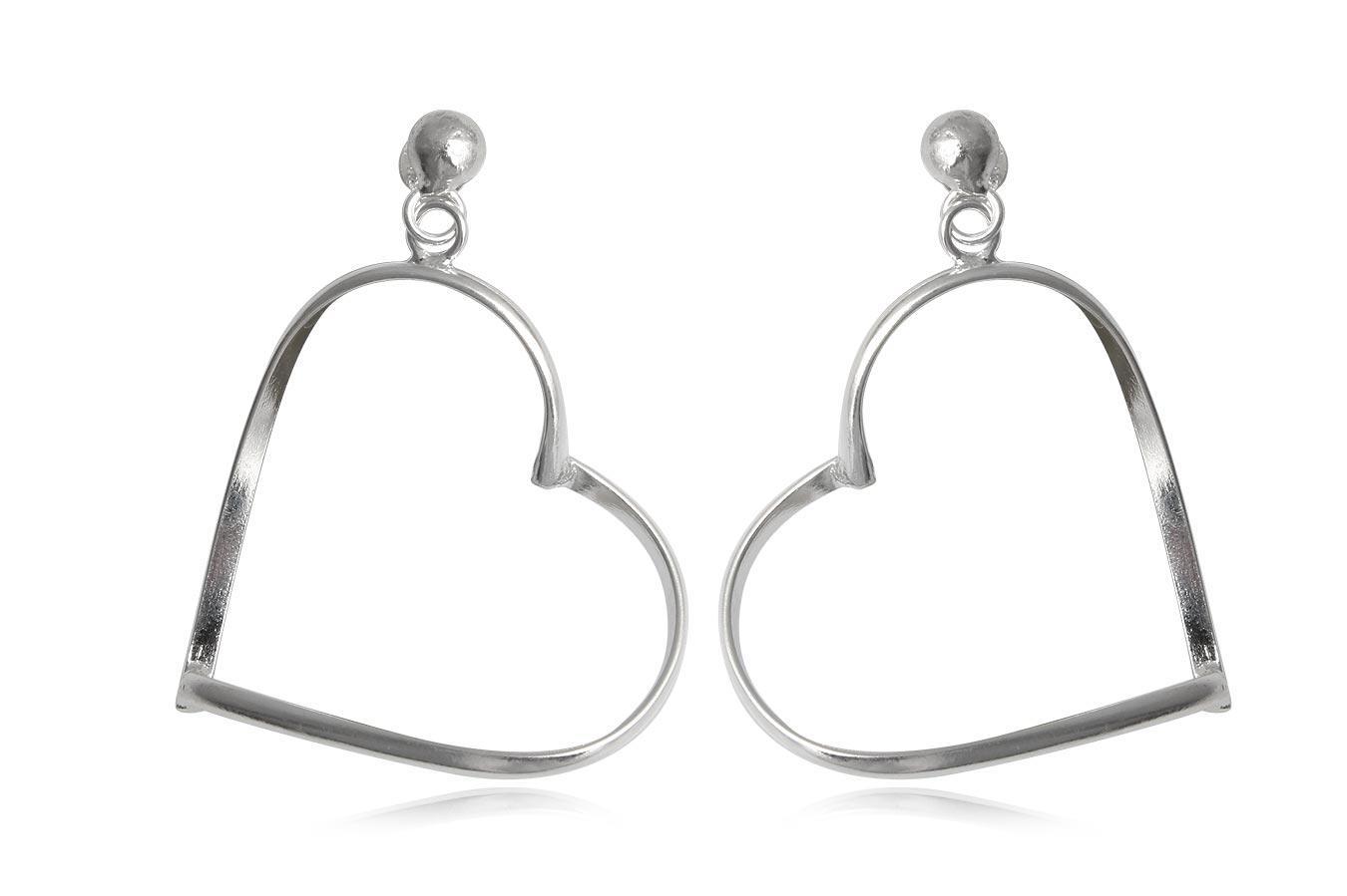 cercei inimi mari din argint