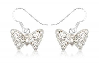 Cercei fluturi din argint cu cristale albe