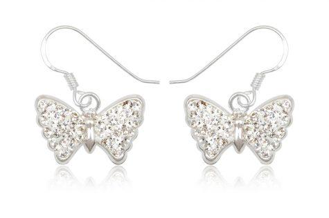 cercei fluturi argint cristale albe