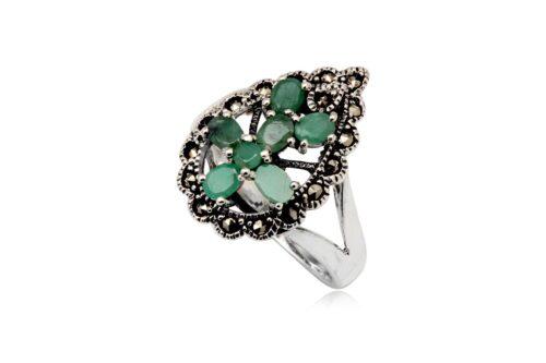 inel din argint cu smaralde si marcasite