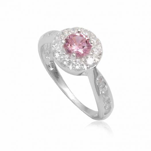 inel din argint si floare roz-diafan