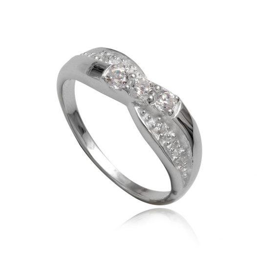 inel din argint cu zirconii transparente