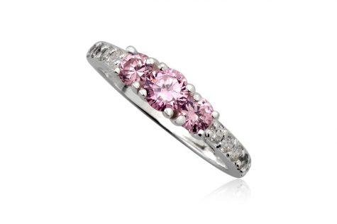 inel din argint cu zirconii roz si albe