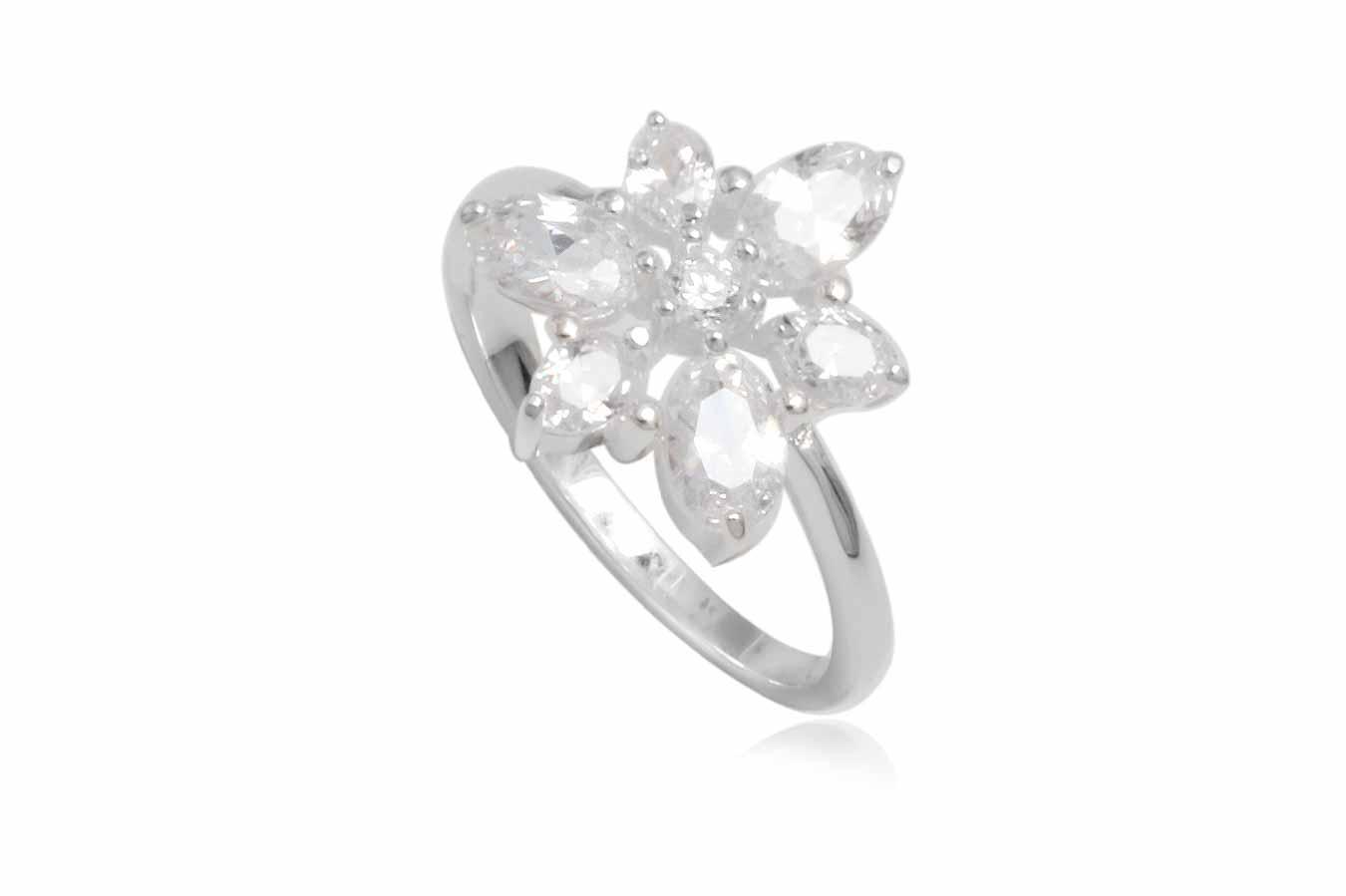 inel din argint floare de gheata