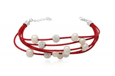 Bratara din piele rosie cu perle albe