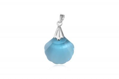 Pandantiv scoica din cristal bleu si argint