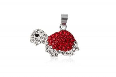 Pandantiv din argint testoasa cu cristale rosii