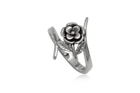 inel din argint cu floare vintage