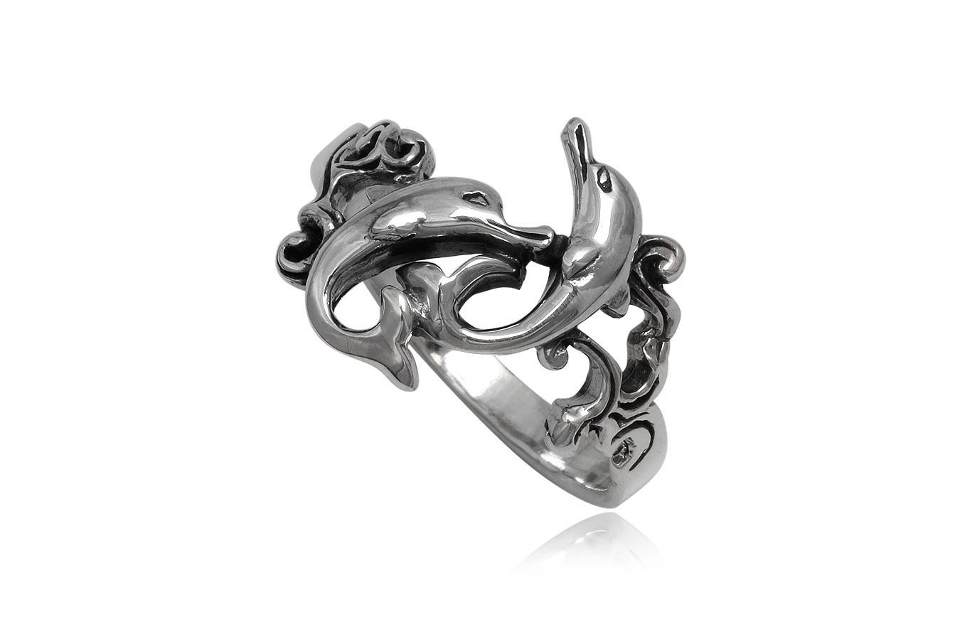 inel din argint cu delfini