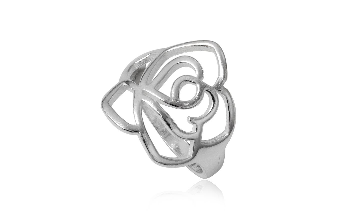 inel argint trandafir decupat