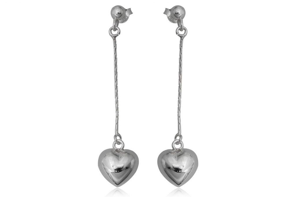 Cercei Lungi Din Argint Cu Inimioare