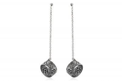 Cercei din argint ear cuff cu lantisor