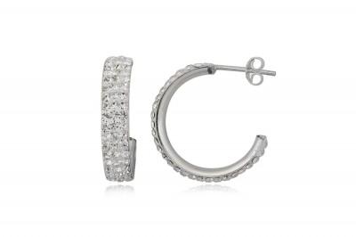 Cercei din argint semicerc cu cristale albe