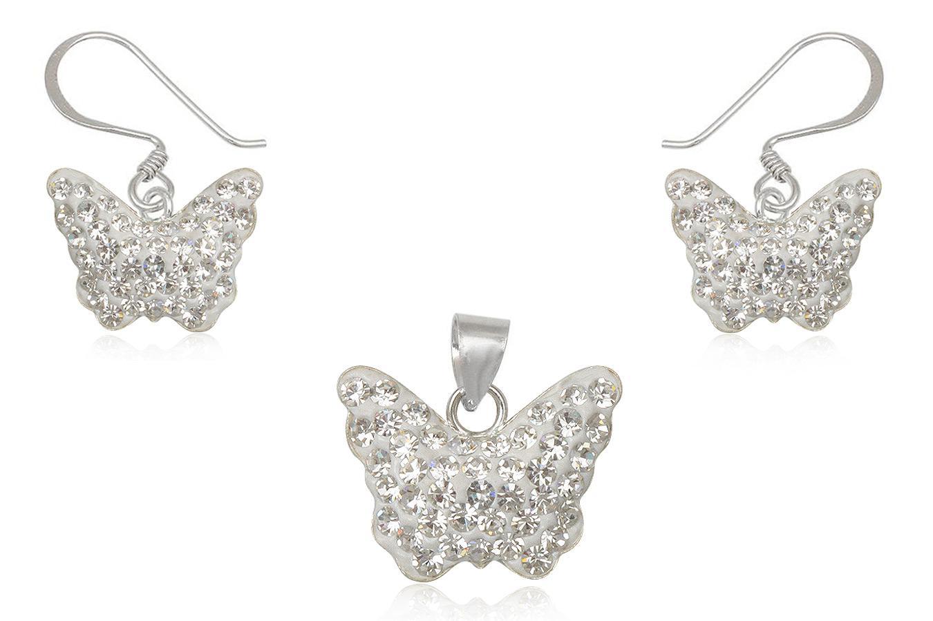 set fluturi albi cu cristale