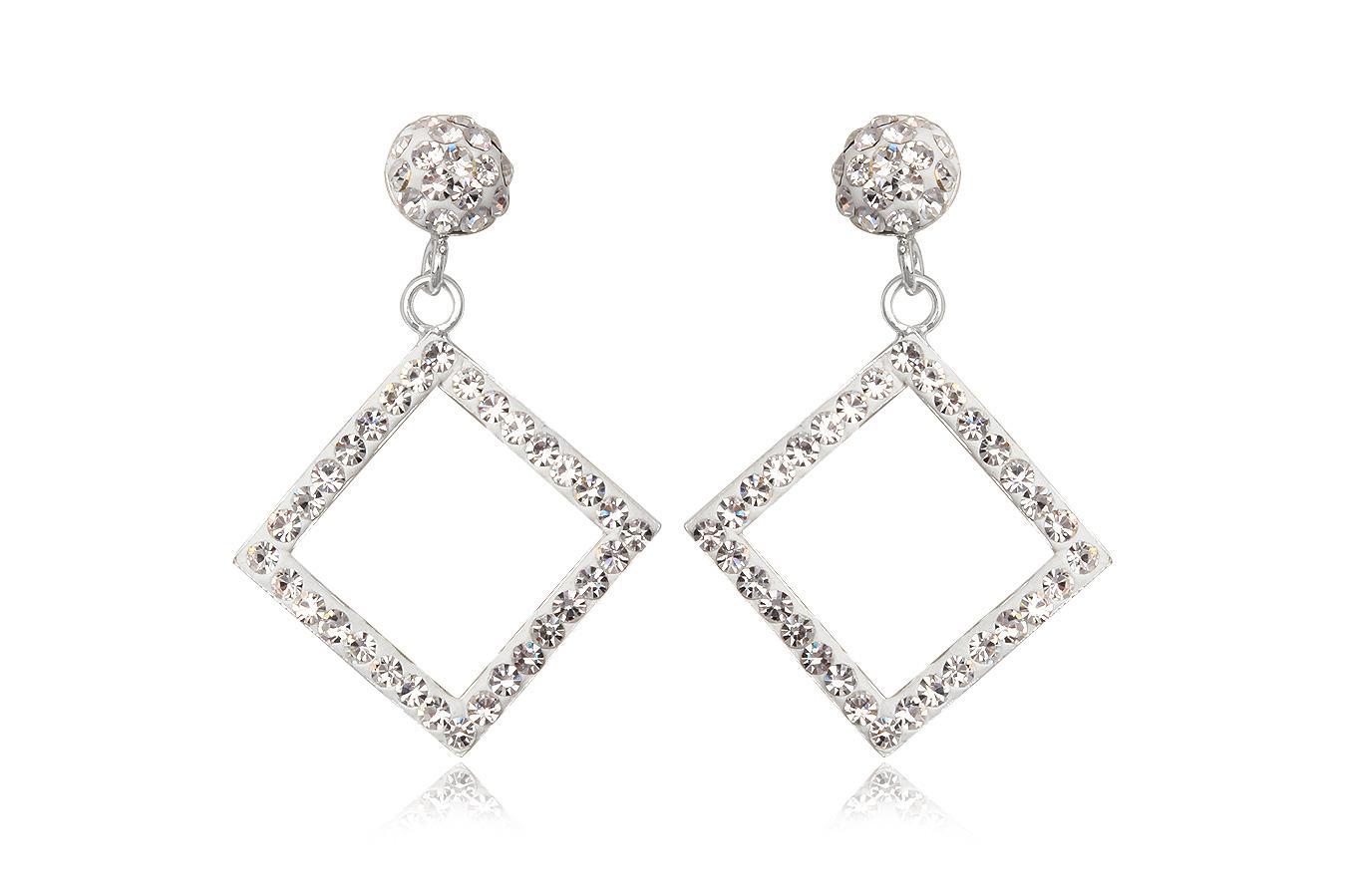 cercei romburi din argint si cristale