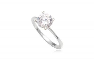 Inel de logodna cu piatra transparenta