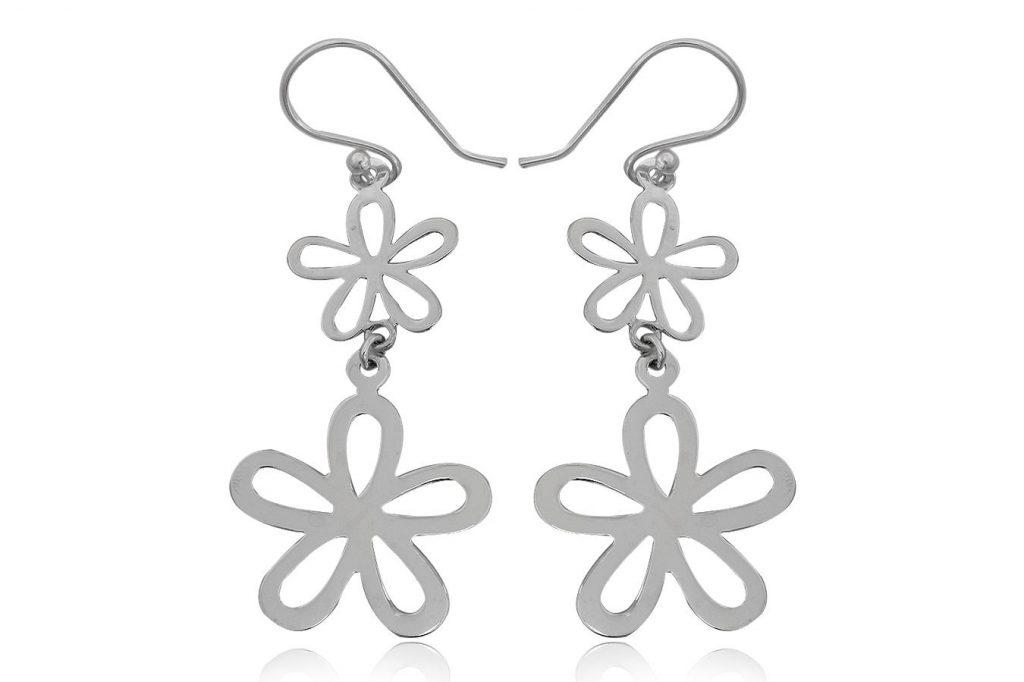 Cercei Lungi Cu Flori Din Argint