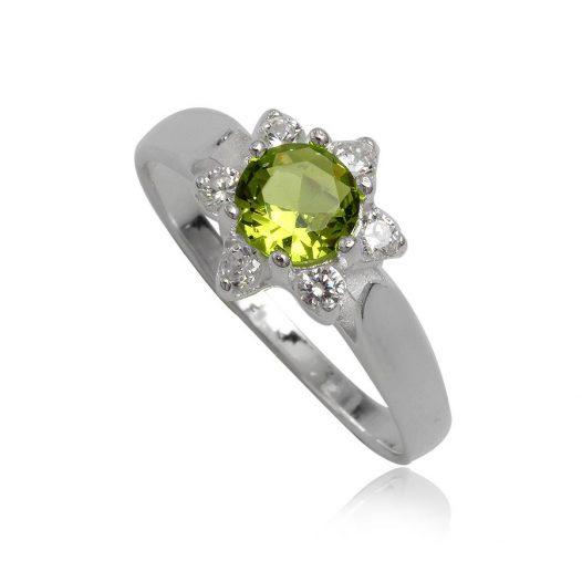 inel din argint cu floare verde