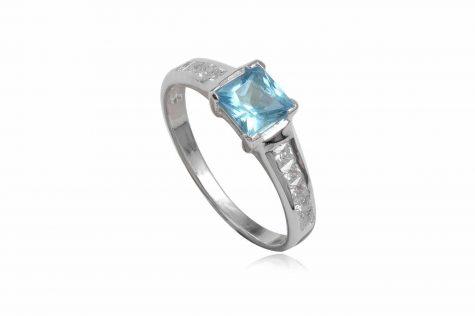 inel de logodna cu zirconia bleu