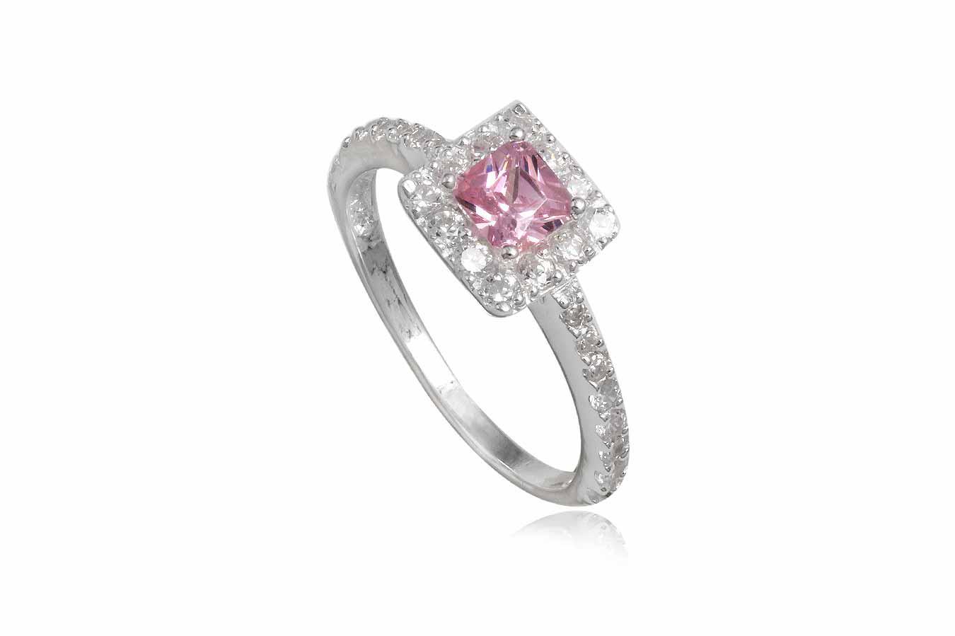 inel din argint cu zirconia roz