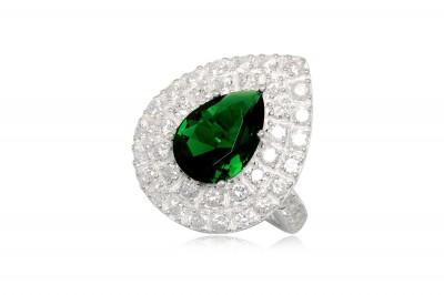 Inel din argint si zirconia verde