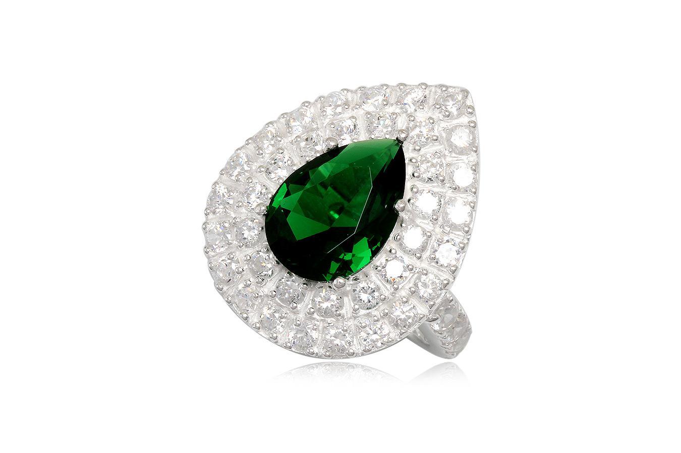 inel din argint cu zirconia verde