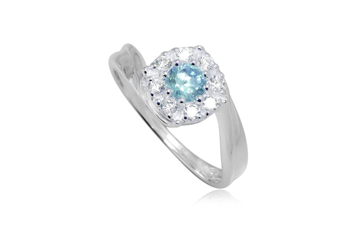 inel argint floare bleu