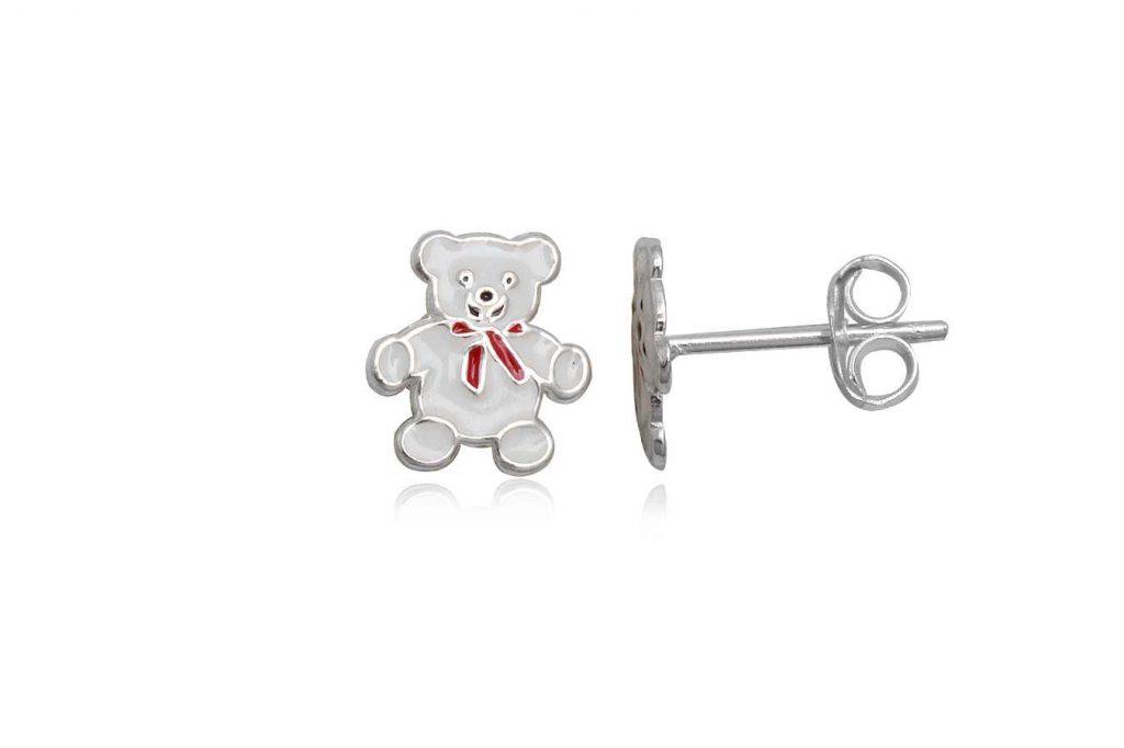 Cercei Pentru Copii Ursuleti Albi Din Argint