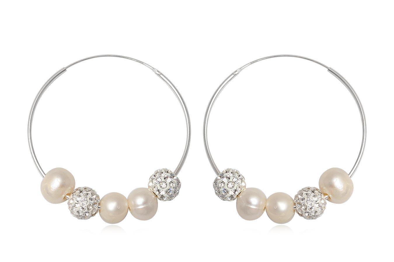 cercei cercuri cu perle si cristale