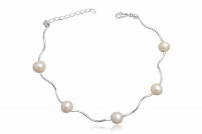 Bratara din argint si perle albe