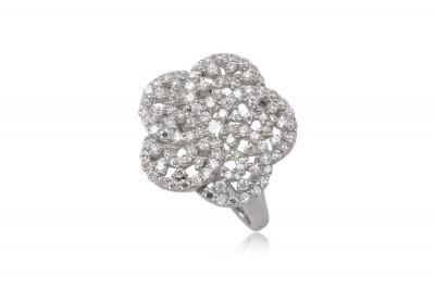 Inel floare din argint si zirconia