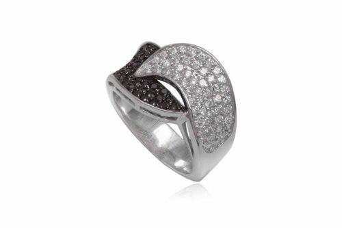 inel din argint cu pietre albe si negre