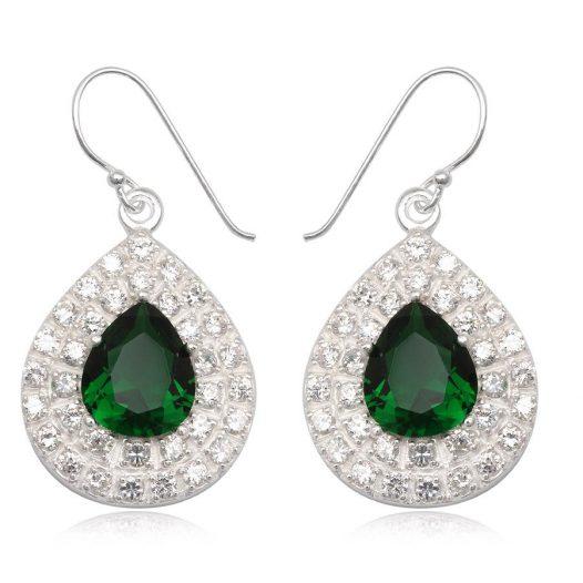 cercei din argint in verde si alb