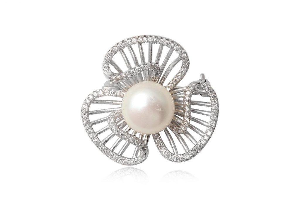 Brosa Din Argint Cu Perla Alba