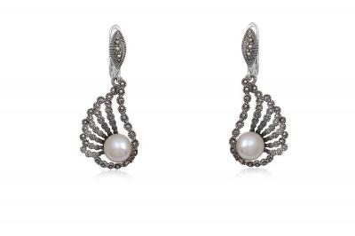 Cercei de seara cu perle naturale albe