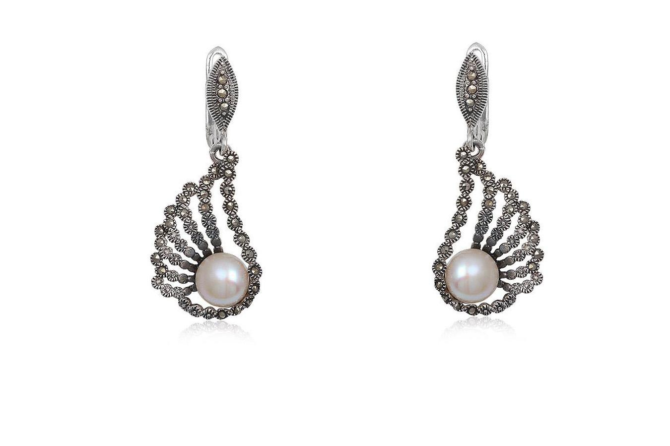 cercei de seara cu perle albe