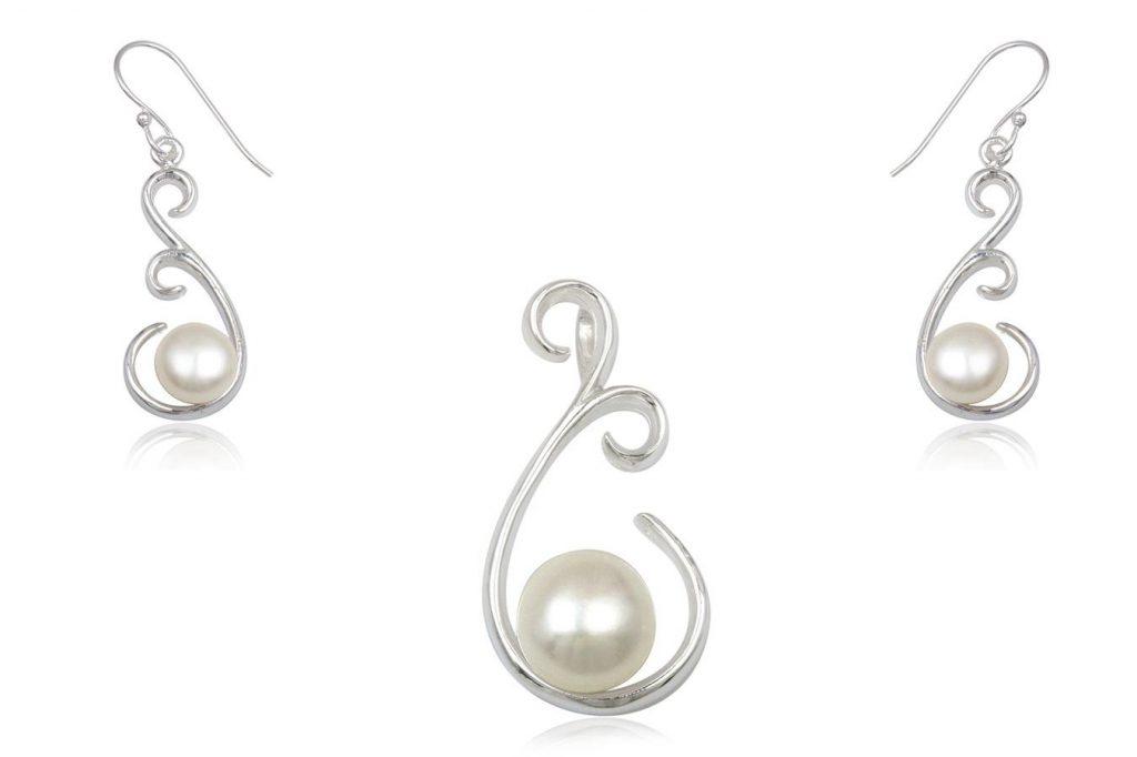 Set Mireasa Din Argint Cu Perle Naturale