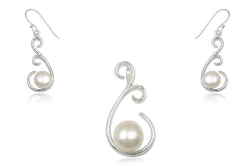 set mireasa argint cu perle