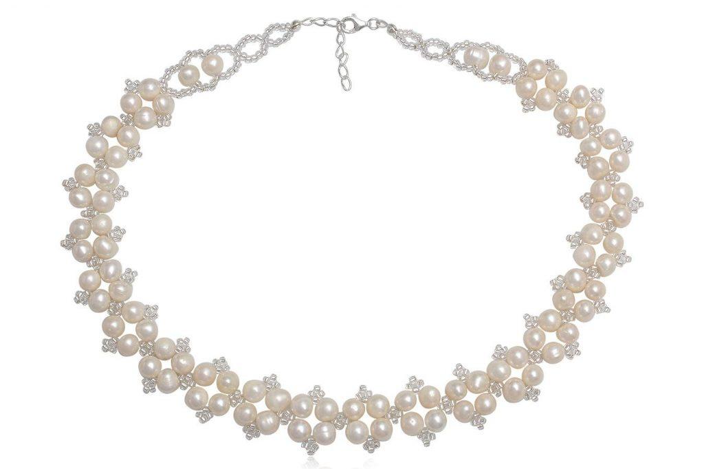 Colier De Mireasa Cu Perle Si Cristale