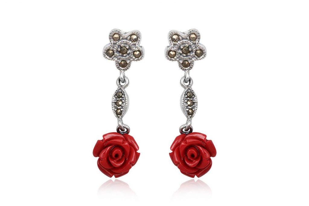 Cercei Lungi Din Argint Cu Trandafiri Rosii
