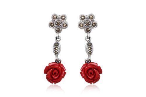 cercei lungi cu trandafiri rosii